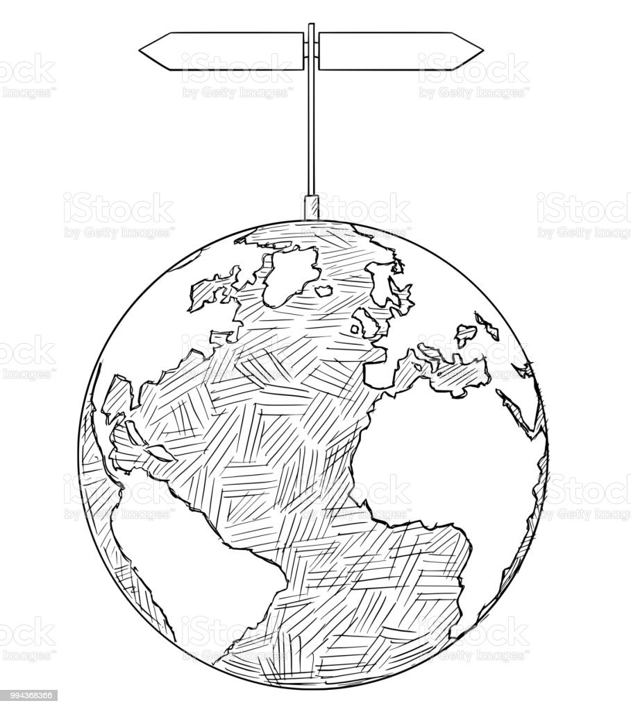 vector artistic drawing illustration of world globe with two