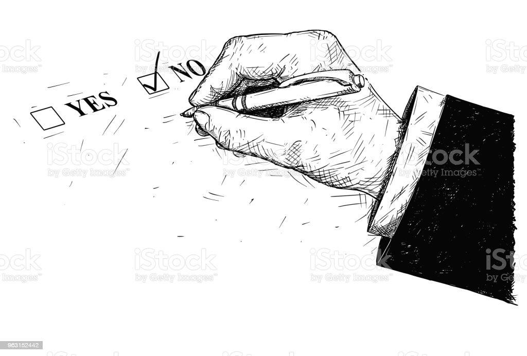 はい、アンケート用紙とボールペンを持っている手のベクトル芸術の描画イラスト - いたずら書きのロイヤリティフリーベクトルアート