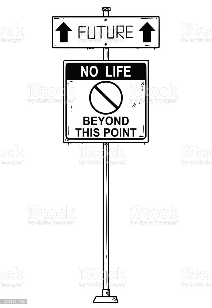 vector artistic drawing of traffic arrow sign with future and no