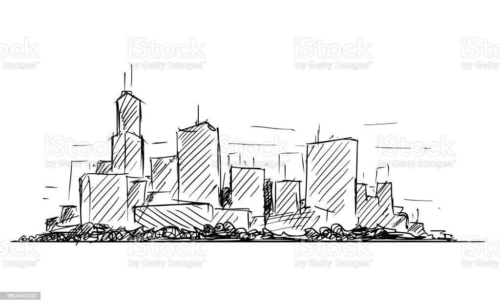 Ilustración de Bosquejo De Dibujo Artístico Vector Genérico Ciudad ...