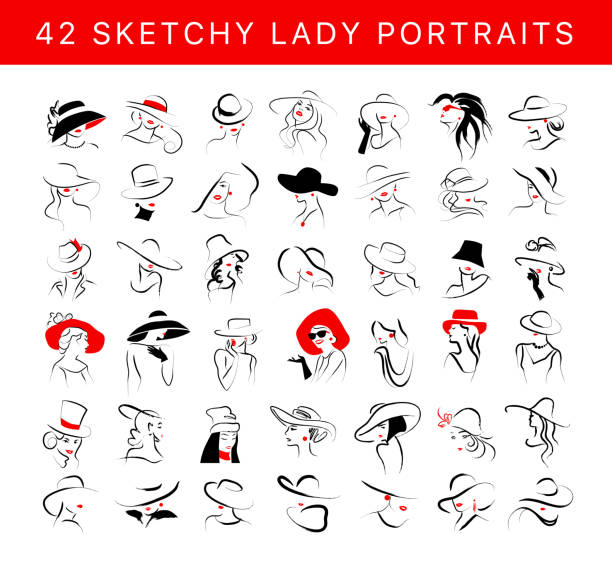 ilustraciones, imágenes clip art, dibujos animados e iconos de stock de vector conjunto de retrato de señora joven con estilo dibujado a mano artístico aislado sobre fondo blanco. - moda de mujer