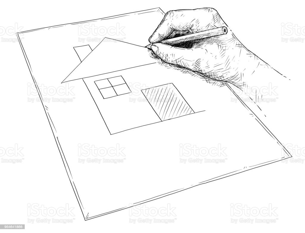 Vector illustration artistique de la maison de rêve de dessin de main sur papier vector illustration