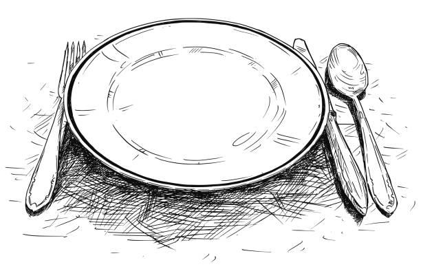 bildbanksillustrationer, clip art samt tecknat material och ikoner med konstnärliga vektorillustration för eller ritning av tom tallrik, kniv och gaffel - empty plate