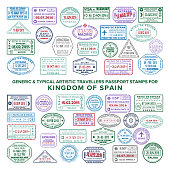 Vector artistic passport arrival and departure stamps set for Spain. Translations: passport control, passenger control, international airport, arrival, departure, control passed, immigration service, etc.