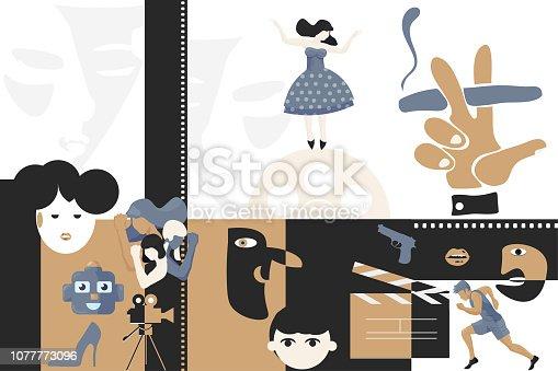 Vector artwork illustration for film or cinema festival. Movie festival poster, cinema theater ticket, flyer or filmography art template. Tv or Cinematography event or film movie studio production.