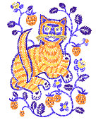 Vector artwotk in folk style. Fantasy cat surounded by berries isolated on white, Embroidery imitation, hatching.