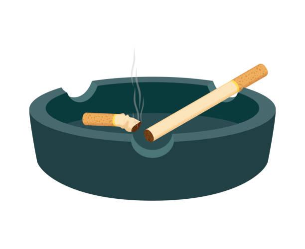 illustrazioni stock, clip art, cartoni animati e icone di tendenza di posacenere vettoriale con sigarette, culo affumicato, stub - cicca sigaretta