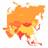 Vector Asia map with countries borders. Abstract red and yellow Asia countries on map