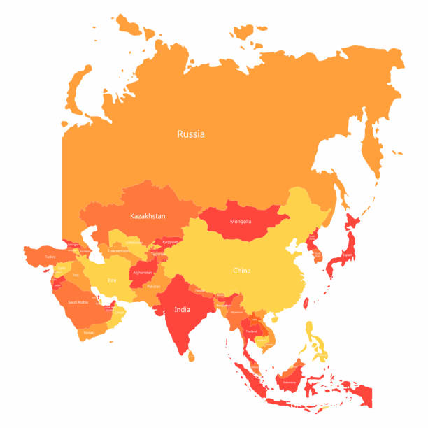 vector asia map with countries borders. abstract red and yellow asia countries on map - azja południowo wschodnia stock illustrations