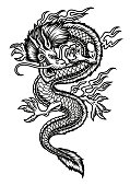 A vector Asian dragon illustration isolated on white background.