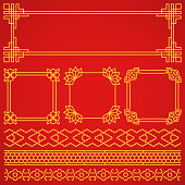 Vector asian, korean, chinese, japanese retro frames, borders set
