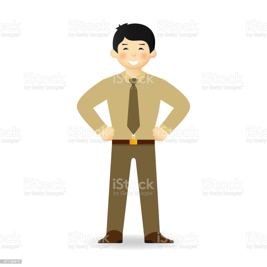 Vector asian office worker character in flat style vector art illustration