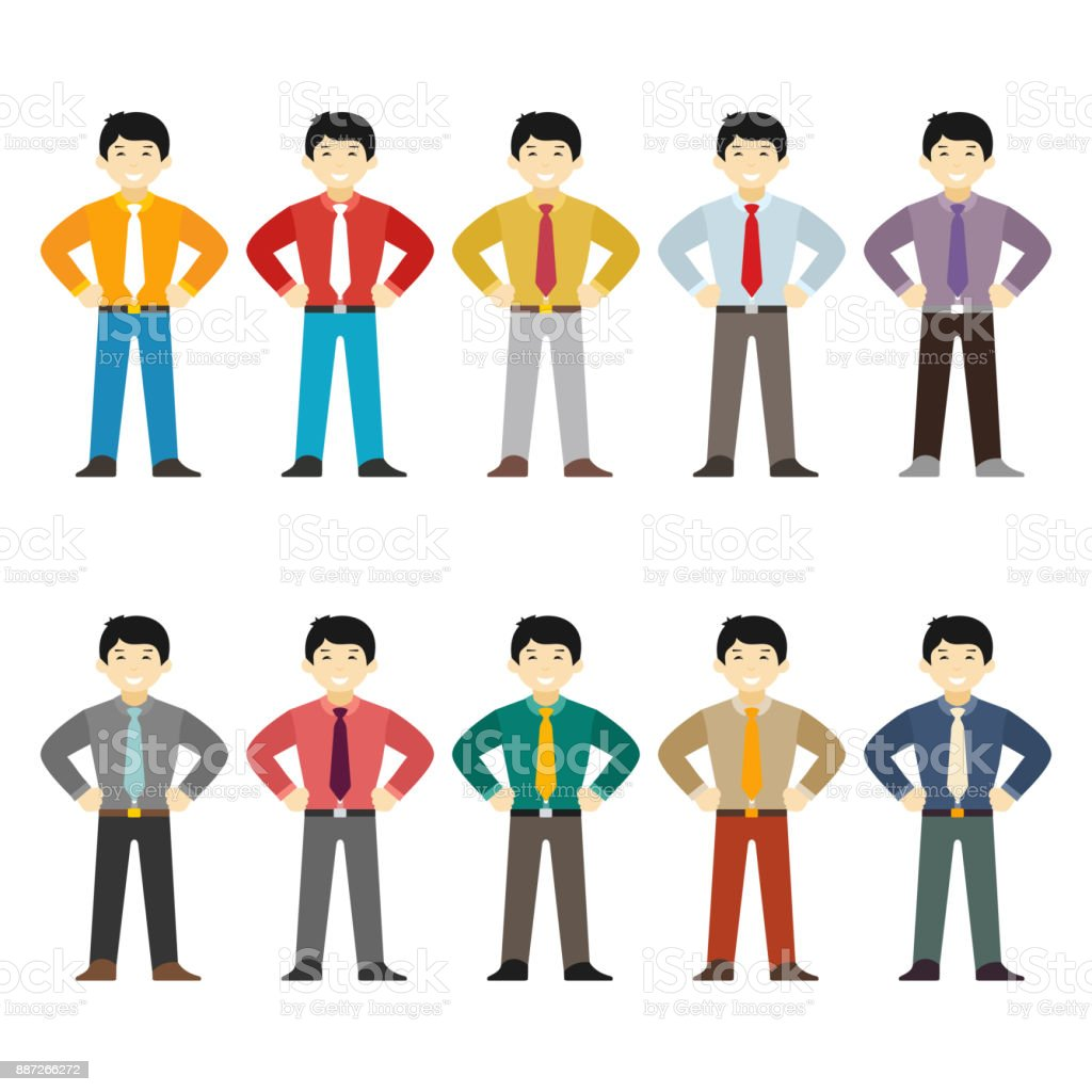 Vector asian office worker character set in flat style vector art illustration
