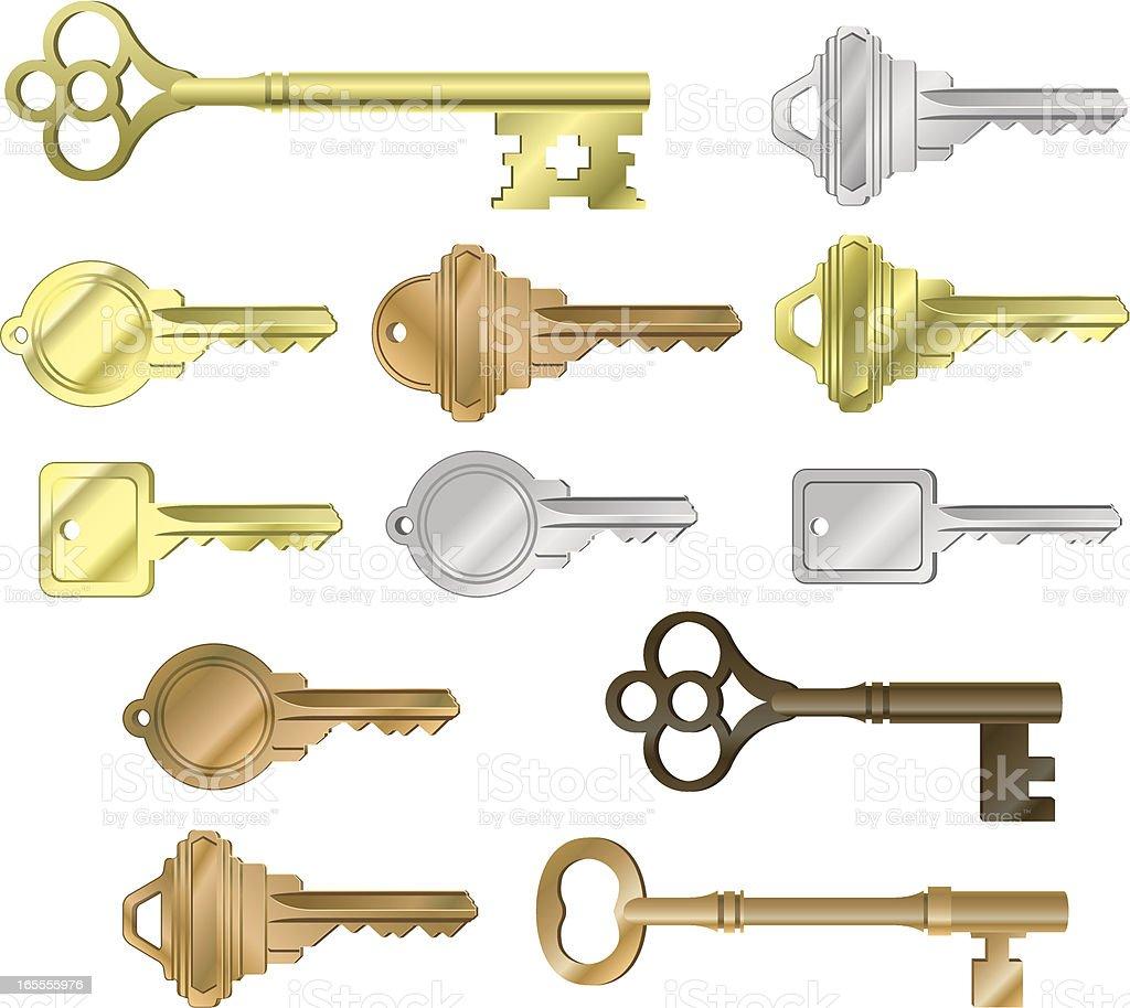 Vector Assorted Keys royalty-free stock vector art