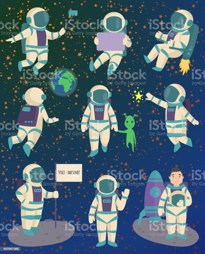 Vector astronaut character pose. - Illustration vectorielle