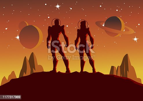 A silhouette style vector illustration of a couple of astronaut standing on a planet with outer space scene in the background. Wide space available for your copy.