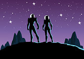 A silhouette style vector illustration of a couple of astronaut on a planet with mountains scenery and outer space background. Wide space available for your copy.