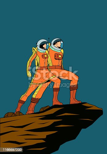 A retro style vector pop art poster illustration of a couple of astronauts standing on a rock cliff isolated in color. Layered, easy to pick and edit.