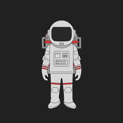 Vector Astronaut standing , Space suit , flat design