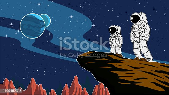 A cartoon style vector illustration of a team of astronauts standing on a cliff on a distant planet with outer space in the background. Wide space available for your copy.