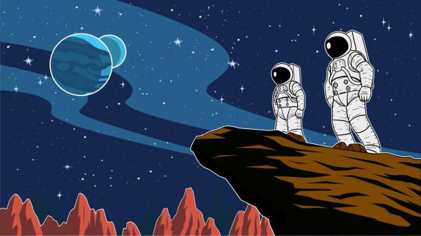 Vector Astronaut Team im Weltraum Illustration – Vektorgrafik
