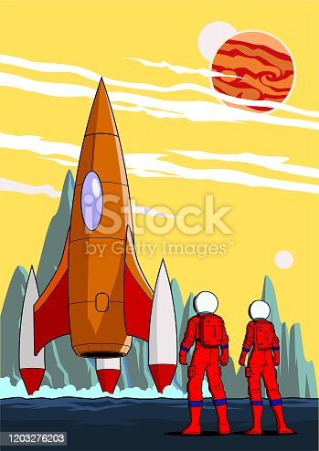 istock Vector Astronaut Team on a Distant Planet Stock Illustration 1203276203