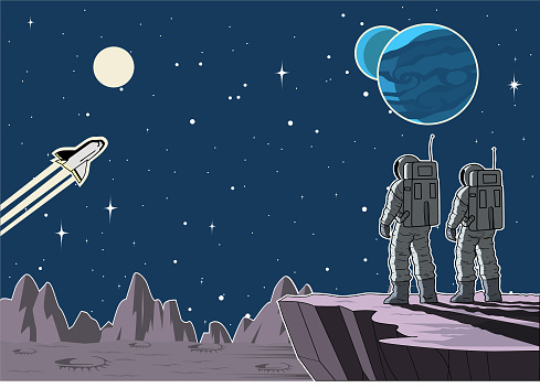 Vector Astronaut Team on a Moon Surface in Outer Space Stock Illustration