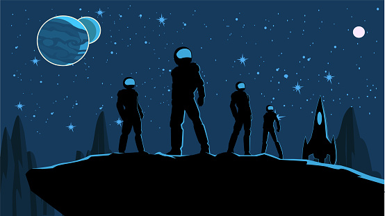 Vector Astronaut Team on a Planet Surface Stock illustration