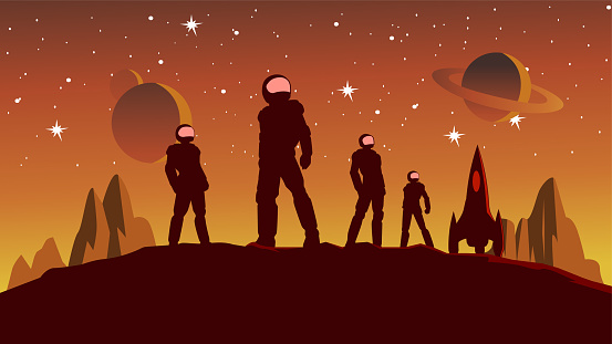 Vector Astronaut Team Silhouette on Planet Surface Stock Illustration