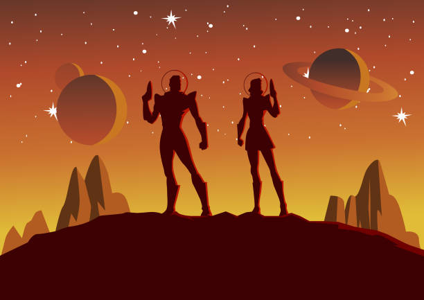 vector astronauts couple silhouette in space illustration - adults only stock illustrations