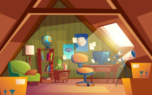 vektor dachboden innen, kinderspielzimmer mit möbeln. - dachboden stock-grafiken, -clipart, -cartoons und -symbole
