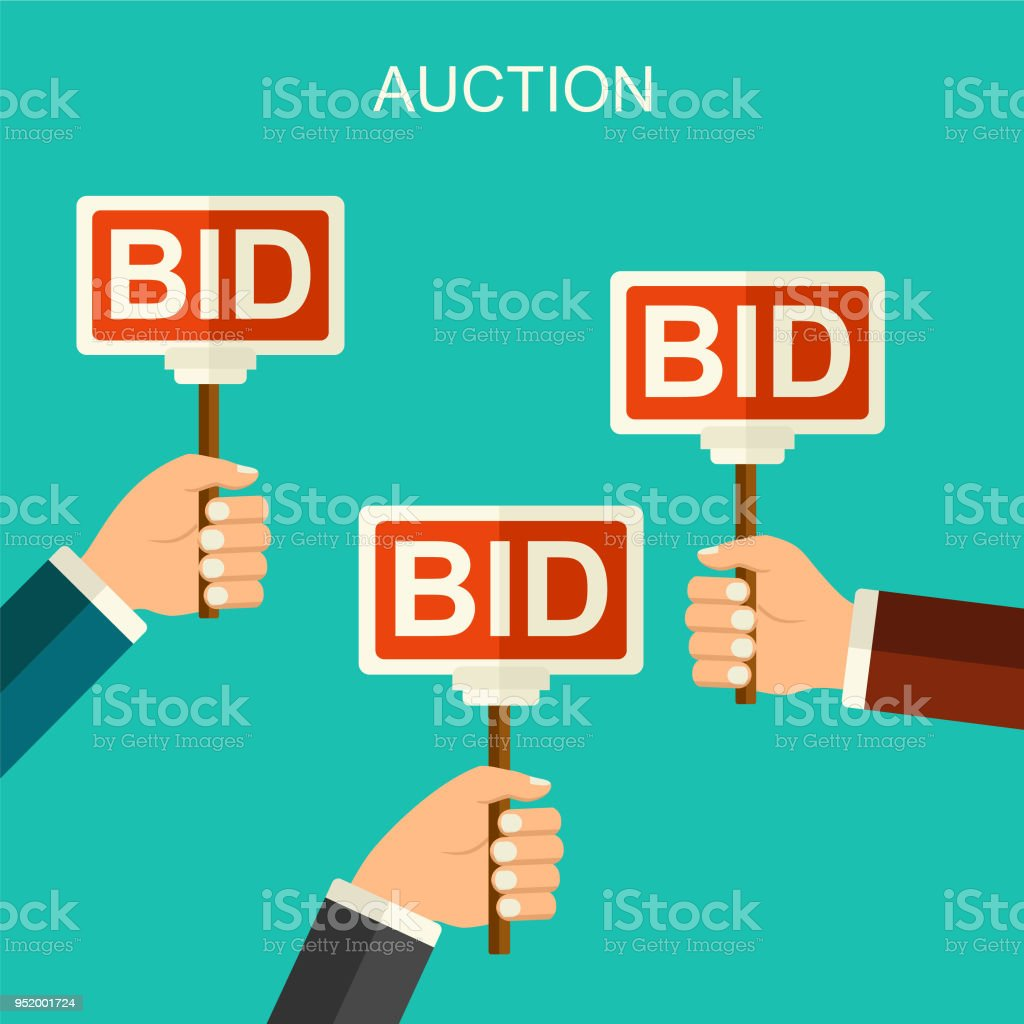 Vector Auction And Bidding Concept Hands Holding Paddle Flat Illustration With Banners