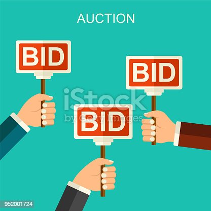 Vector Auction And Bidding Concept Hands Holding Paddle Flat Illustration With Banners Bid Stock Art More Images Of Advertisement