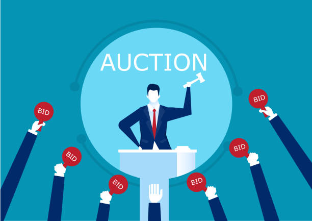 vector auctioneer hold gavel in hand. Buyers competitive raising arm holding bid paddles with numbers of price.  illustration vector auctioneer hold gavel in hand. Buyers competitive raising arm holding bid paddles with numbers of price.  illustration auction stock illustrations
