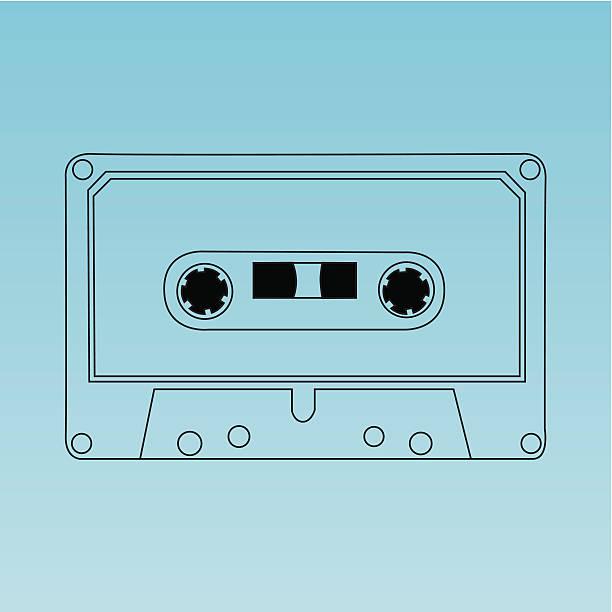 Vector audio cassette vector art illustration