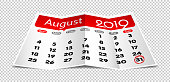 Vector August 2019 calendar on folded paper isolated