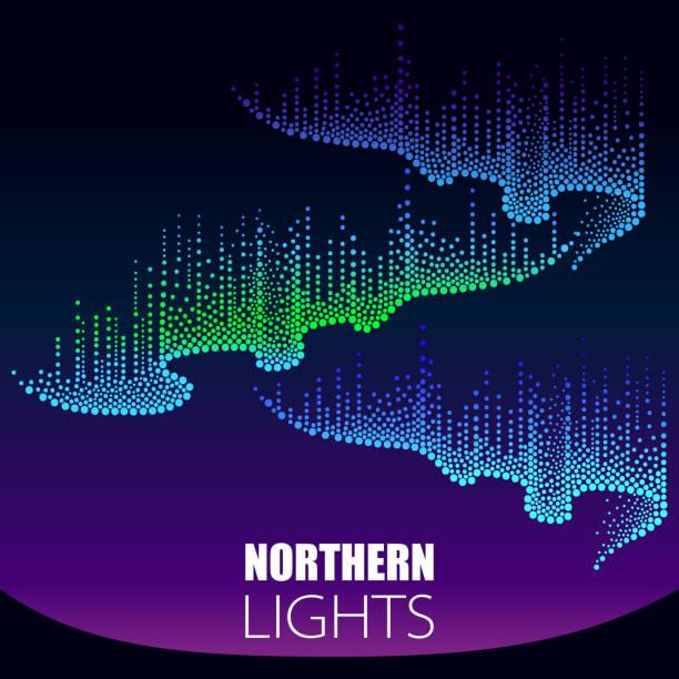 illustrazioni stock, clip art, cartoni animati e icone di tendenza di vector aurora borealis lights in dotwork style on the night background for arctic space or galaxy design. - aurora boreale