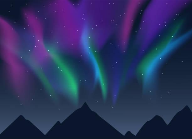illustrazioni stock, clip art, cartoni animati e icone di tendenza di vector aurora borealis - fiordi