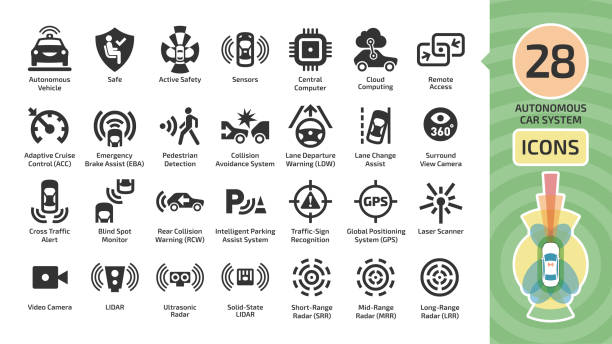 vector autonomous self drive car sensor control system icon set. driverless vehicle advanced assistance remote technology with cameras and radars symbols. - self driving cars stock illustrations, clip art, cartoons, & icons