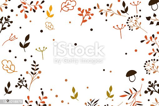 istock Vector autumn background with leaves and leaf fall illustrations 1304018979