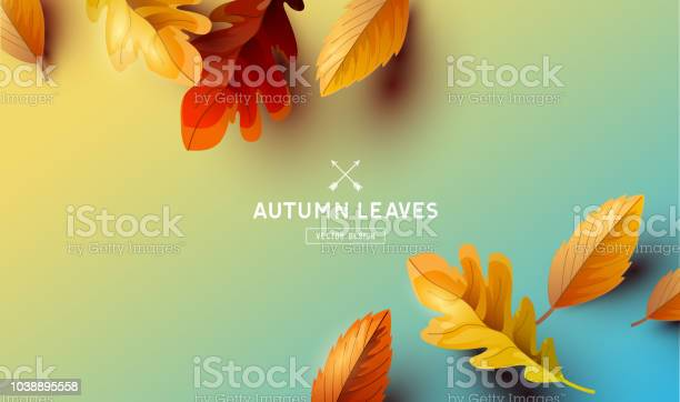 Vector Autumn Falling Leaves Background Stock Illustration - Download Image Now
