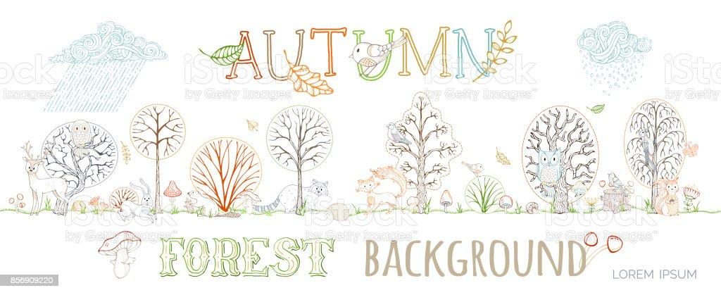 Vector autumn forest background. vector art illustration