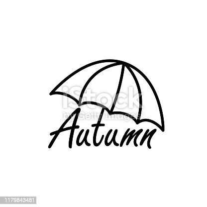 Vector autumn label with hand written text. Letters illustration with umbrella on white Background. Handwritten brush lettering composition word for flyer, cards, banner, poster.