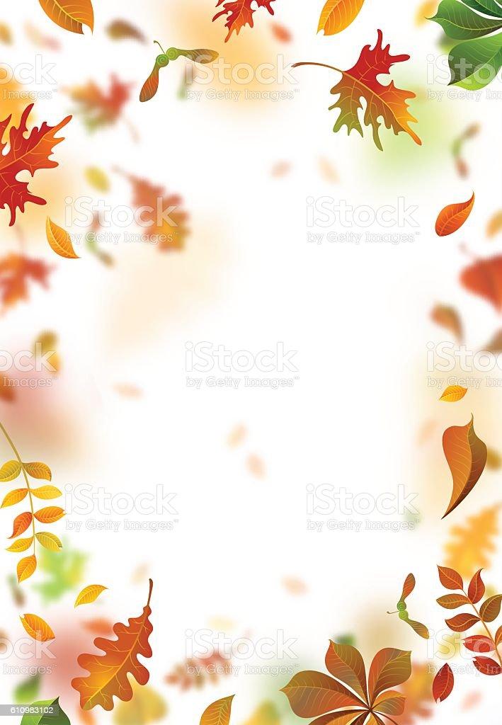 Vector autumn leaves blurred background. vector art illustration