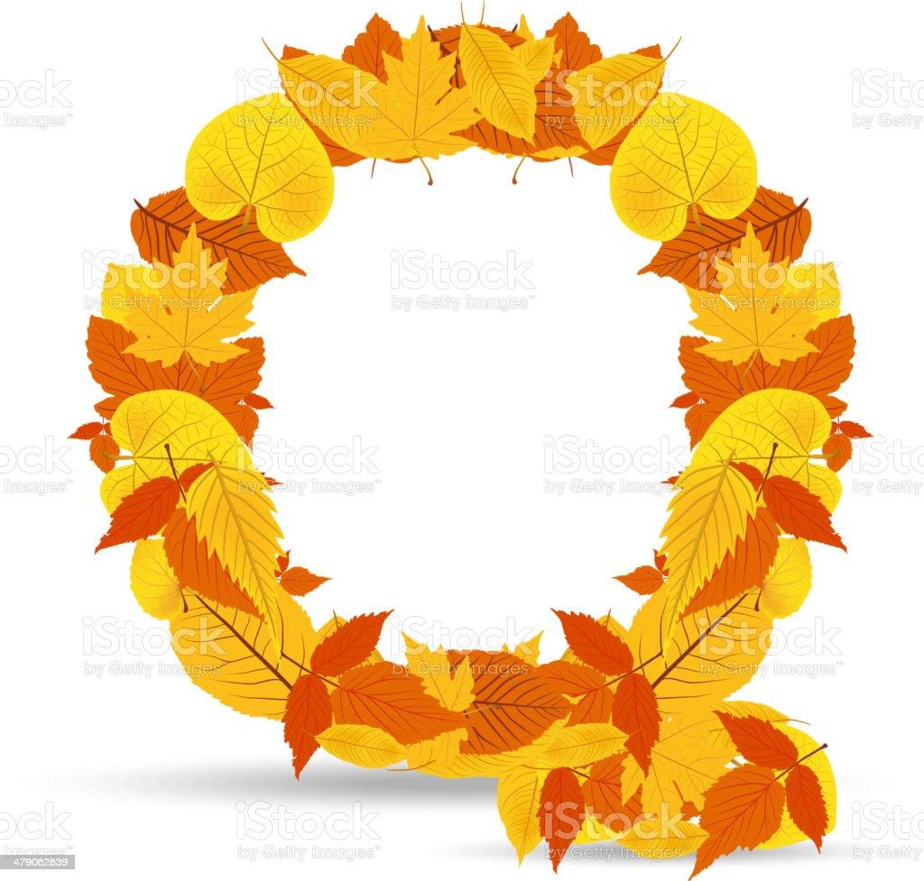 Vector autumn leaves font, letter Q royalty-free stock vector art