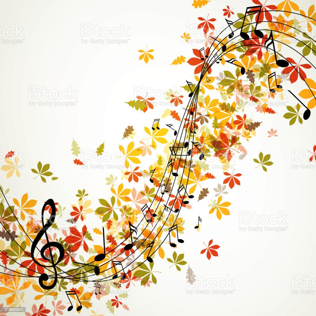 Vector Autumn Music Background With Notes Stock Illustration