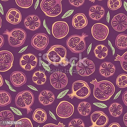 Vector autumn seamless pattern background with pomegranates and leaves. Surface pattern design for fabric, paper, backgrounds