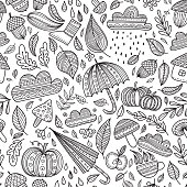 Vector autumn seamless pattern colorless