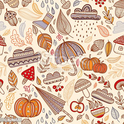 Lovely autumn concept childish vector seamless pattern with leaves, cloud, acorn, umbrella, mushrooms, pumpkin. Can be printed and used as wrapping paper, background, wallpaper, textile, fabric, other surface