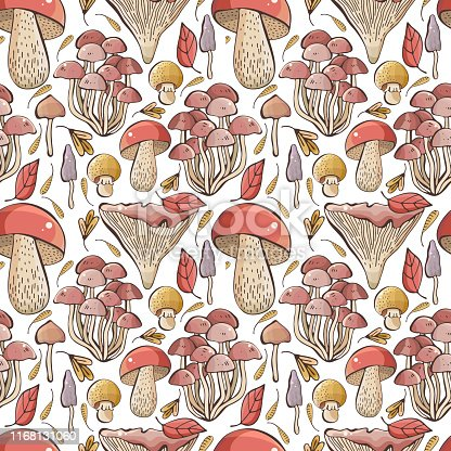 Vector autumn seamless pattern with leaves, maple seeds, mushrooms on white background. Drawing hands in a cute, childish style. Usable for wrapping paper, caps, fabric, etc, designer backdrop.